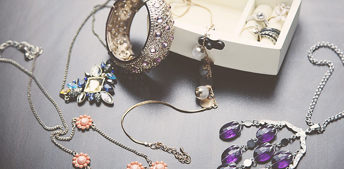 Treasured Jewellery: A collection of ornate necklaces and bracelets.